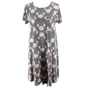 Lularoe Carly Dress Disney Minnie Mouse Gray Pink